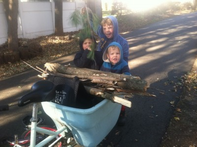 the smaller boys in the blue bike with a load of branches