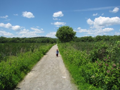 Lijah, in long pants and long sleeves, walking on a road through a marsh