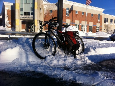 my bike at Harrington School after a snowy morning commute