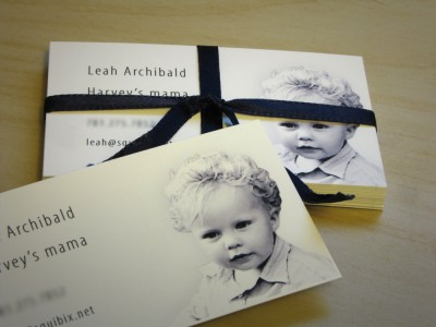 calling cards for Leah, featuring Harvey's cute little mug