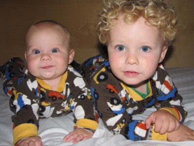 Zion and Harvey in matching fleece pajamas