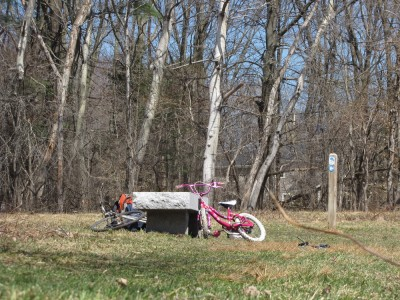Harvey's pink bike and my gray one leaning against a stone bench in the meadow