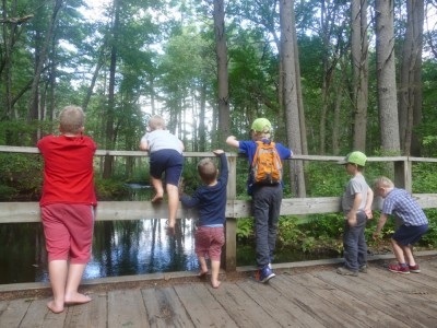 the boys and friends pausing to look over the side of a wooden bridge