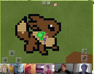 an Eevee picture made in Minecraft