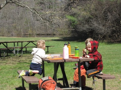 the three boys eating at a picnic table