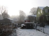 the chicken coop and house through the icy morning mist