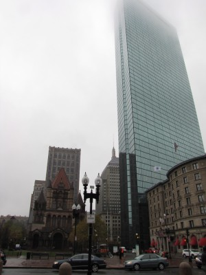 Trinity Church and the Prudential tower in the misty rain