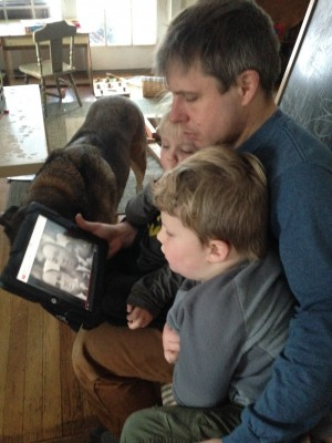 me and the boys watching the I Have A Dream speech on the iPad