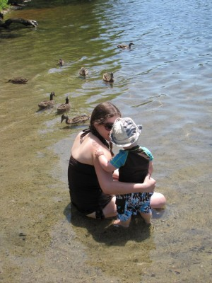 momma and harvey looking at ducks