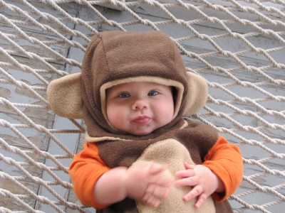 Zion in his monkey suit