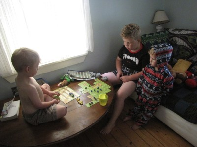 the boys playing Carcasonne
