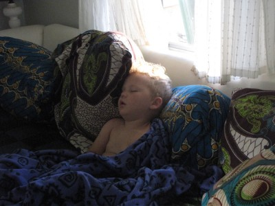 Lijah sleeping on the couch