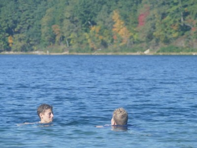 Mama and Harvey swimming in Walden Pond