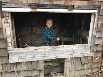 Lijah exploring an old abandoned chicken coop
