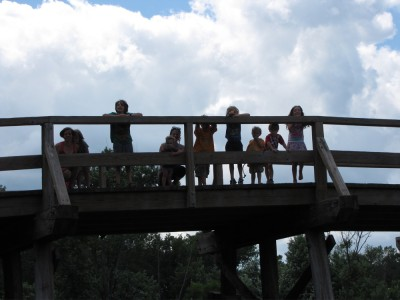 Leah and Bridget with the kids up on the bridge