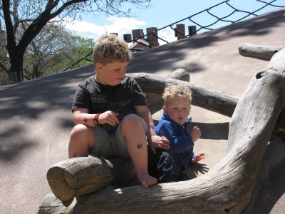 Harvey and Lijah resting for a moment at the Kemp playground