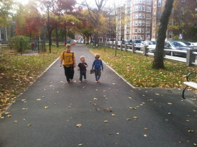 the boys walking shoeless on Cambridge Common