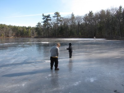 Harvey and Zion walking on the ice