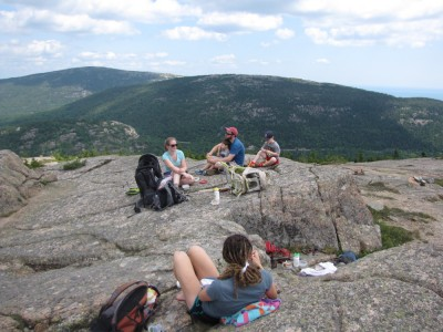 the gang lunching atop Penobscot