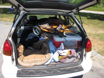 a look into the fully-loaded trunk