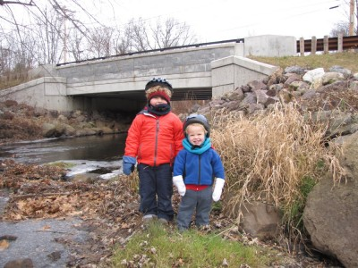 the boys posing in front of the Page Rd bridge over the Shawsheen