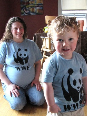 Mama and Harvey in matching panda bear shirts