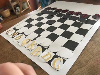 a homemade paper chess set