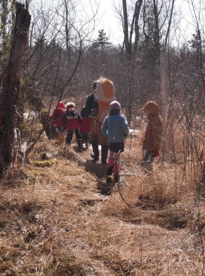 five kids and one dada (with another kid in the backpack) marching through the marsh