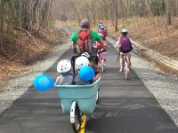 the gang, including me on the blue bike. heading home on the bike path