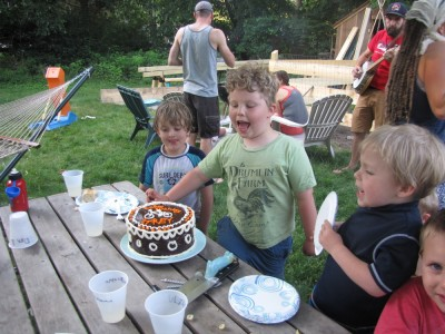 Harvey and his friends looking at his birthday cake on the picnic table