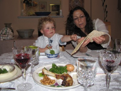 Harvey and Grandma Beth at the Seder table
