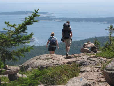 Katie and Tim descending Penobscot with lots of ocean beyond them