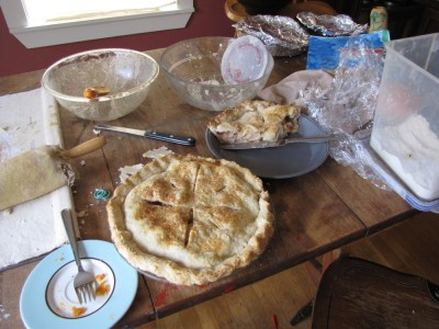 lots of pies in various stages of consumption on our kitchen table