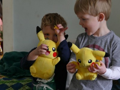 Lijah and Henry with their matching Pikachus