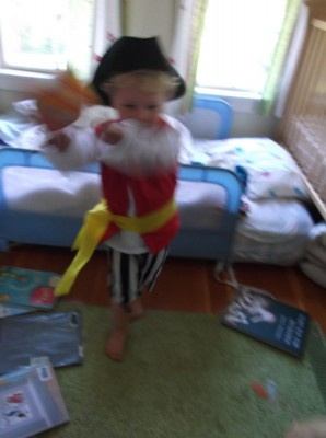 harvey going crazy in his pirate costume