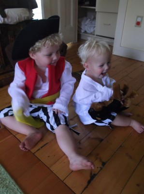 harvey and zion in the first fitting of their costumes