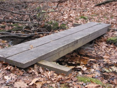 a sturdy plank bridge over a tiny stream