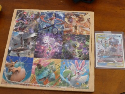 a wooden puzzle of pokemon images