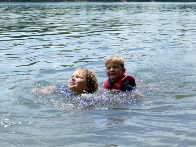 Harvey and Lijah swimming in Walden Pond