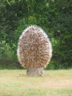 a big egg-shaped porcupine-looking sculpture