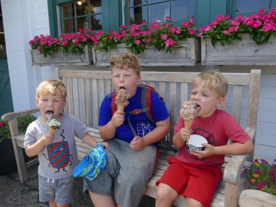 the boys licking ice cream cones