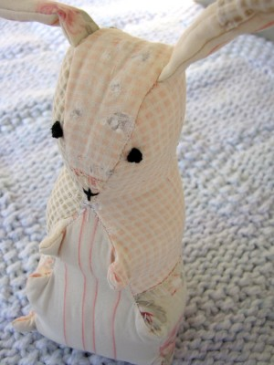 an Easter rabbit made from an old quilt