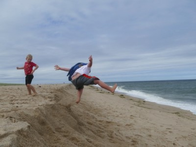 Harvey jumping off a sand bank