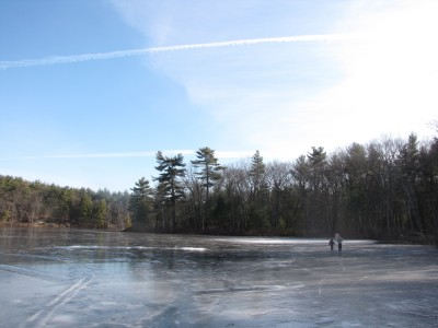 Harvey and Zion walking to a hockey goal far away across frozen Fawn Lake