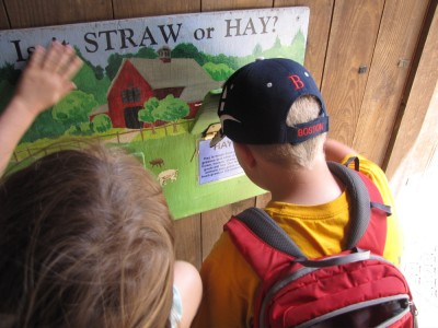 Harvey and Taya looking at instructional material about hay