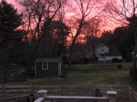 a red sky seen from our back porch