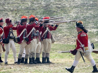 redcoat reenactors in action