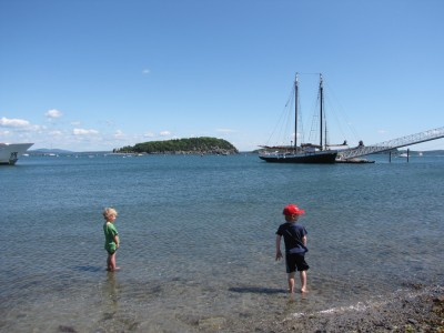 Zion and Nathan wading in Bar Harbor