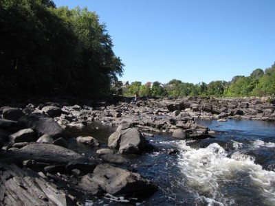 the bigger boys and Havana far away among the rocks of the Merrimack River