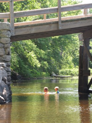 Harvey and Zion swimming under the Old North Bridge